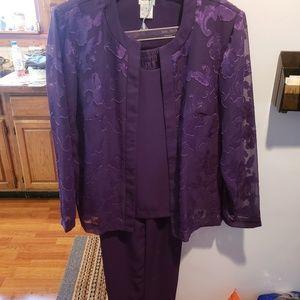 Purple pant suit.